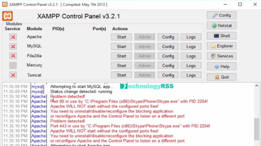 Apache Will Not Start Without The Configured Ports Free